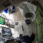 "ISS043E137178 (04/24/2015) --- NASA astronaut Scott Kelly on the International Space Station shows off his personal living quarters in space. Scott tweeted this image out with the comment: "" My #bedroom aboard #ISS. All the comforts of #home. Well, most of them. #YearInSpace""."