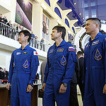 CG4G8954 --- (6 May 2015) --- At the Gagarin Cosmonaut Training Center in Star City, Russia, Expedition 44/45 crewmembers Kimya Yui of the Japan Aerospace Exploration Agency (left), Oleg Kononenko of the Russian Federal Space Agency (Roscosmos, center), a
