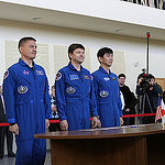 CG4G8889 --- (6 May 2015) --- At the Gagarin Cosmonaut Training Center in Star City, Russia, Expedition 44/45 crewmembers Kjell Lindgren of NASA (left), Oleg Kononenko of the Russian Federal Space Agency (Roscosmos, center), and Kimya Yui of the Japan Aer