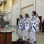 CG4G8713 --- (6 May 2015) --- At the Gagarin Cosmonaut Training Center in Star City, Russia, Expedition 44/45 backup Soyuz Commander Yuri Malenchenko of the Russian Federal Space Agency (Roscosmos, center) and his crewmates, Timothy Peake of the European