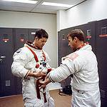 Astronauts Joseph Kerwin and Paul Weitz Suiting Up