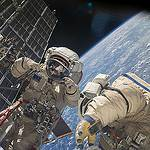 Russian Spacewalkers Work Outside Station