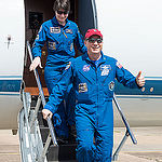 Date: 06-12-15.Location: Ellington Field.Subject: Expedition 43 crew members Terry Virts and Samantha Cristoforetti return to Ellington Field after their mission to the ISS. .Photographer: James Blair