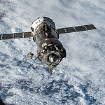 ISS044E000028 (06/11/2015) --- The Soyuz TMA-15M spacecraft undocked from the Rassvet module on the International Space Station on June 11, 2015. NASA astronaut Terry Virts, (ESA) European Space Agency astronaut Samantha Cristoforetti and Russian cosmonaut Anton Shkaplerov are on their way back to Earth. They will land in Kazakhstan a few hours later after more than 6 months in space.