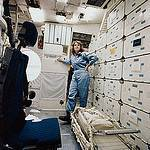 Christa McAuliffe Surveys Training Quarters