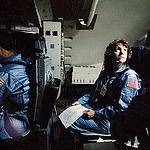 Christa McAuliffe Trains in the Shuttle Mission Simulator
