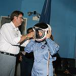 Sharon Christa McAuliffe is Briefed on Helmets