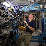 ISS043E276473 (05/31/2015) --- NASA astronaut Scott Kelly is seen here inside the station